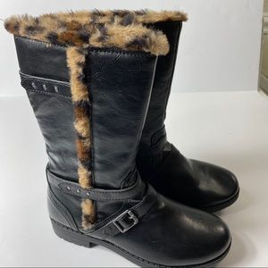 NEW! Nine West Black High Boots Leopard Trim